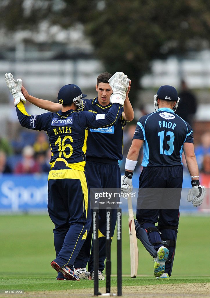 <a gi-track='captionPersonalityLinkClicked' href=/galleries/search?phrase=Chris+Wood+-+Cricket+Player&family=editorial&specificpeople=15004928 ng-click='$event.stopPropagation()'>Chris Wood</a> of Hampshire Royals celebrates taking the wicket of Matt Prior of Sussex Sharks during the Clydesdale Bank Pro40 semi final match between Sussex and Hampshire at the Probiz County Ground on September 1, 2012 in Hove, England.
