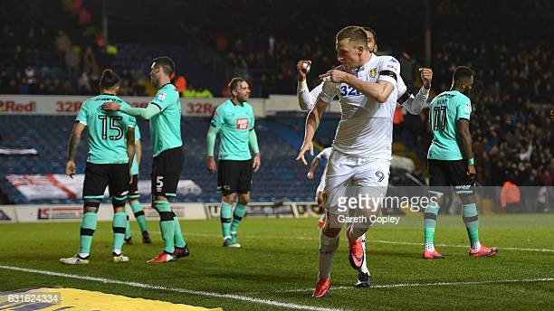 Chris Wood of Leeds celebrates after scoring the opening goal during the Sky Bet Championship match between Leeds United and Derby County at Elland...