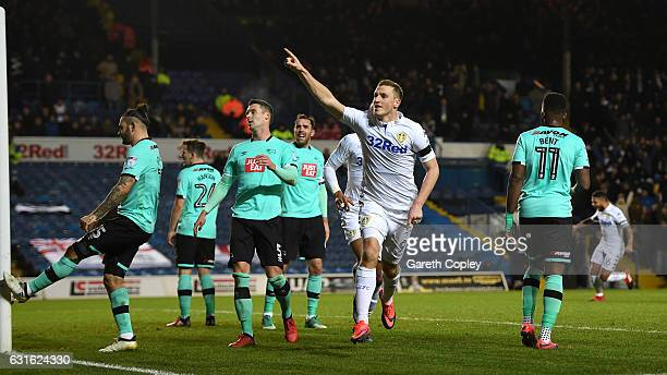 Chris Wood of Leeds celebrates scoring the opening goal during the Sky Bet Championship match between Leeds United and Derby County at Elland Road on...