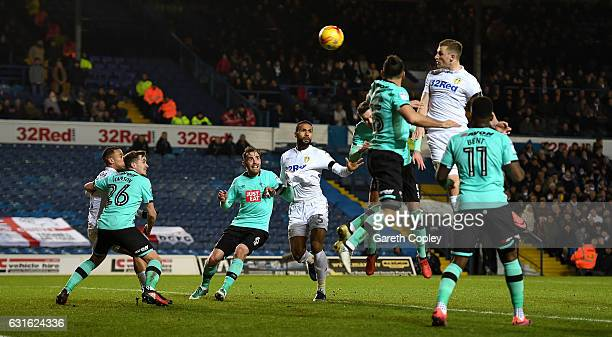 Chris Wood of Leeds scores the opening goal during the Sky Bet Championship match between Leeds United and Derby County at Elland Road on January 13...