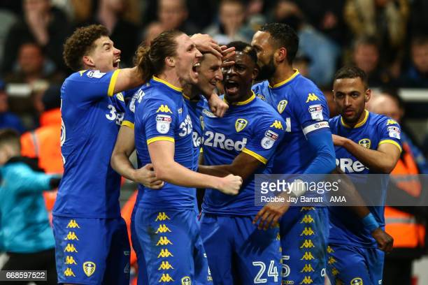 Chris Wood of Leeds United celebrates after scoring a goal to make it 11 during the Sky Bet Championship match between Newcastle United and Leeds...