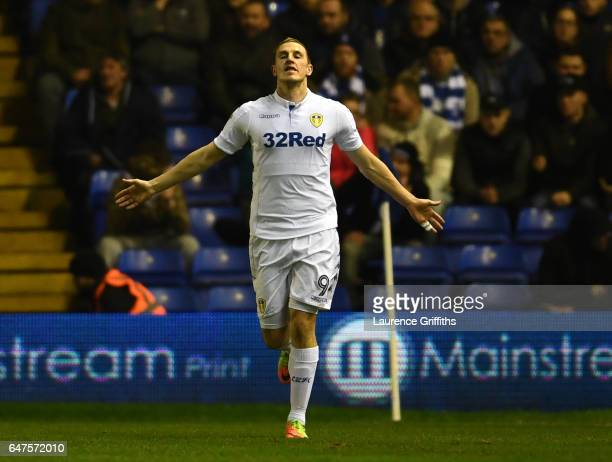 Chris Wood of Leeds United celebrates scoring the opening goal during the Sky Bet Championship match between Birmingham City and Leeds United at St...
