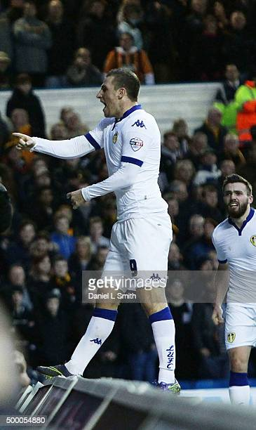 Chris Wood of Leeds United FC celebrates after scoring the opening goal during the Sky Bet Championship League match between Leeds United FC and Hull...