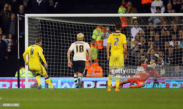 Chris Wood of Leeds United scores a penalty to make it 11 during the Sky Bet Championship match between Fulham and Leeds United at Craven Cottage on...