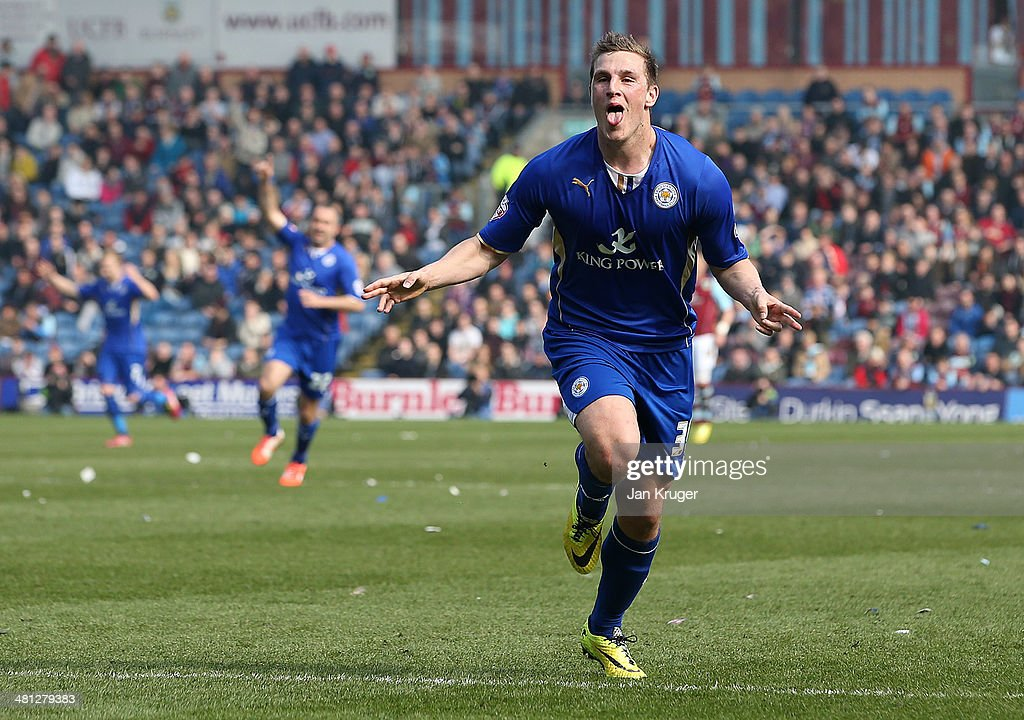 Chris Wood of Leicester City celebrates his goal goal during the Sky Bet Championship match between Burnley and Leicester City at Turf Moor on March 29, 2014 in Burnley, England.