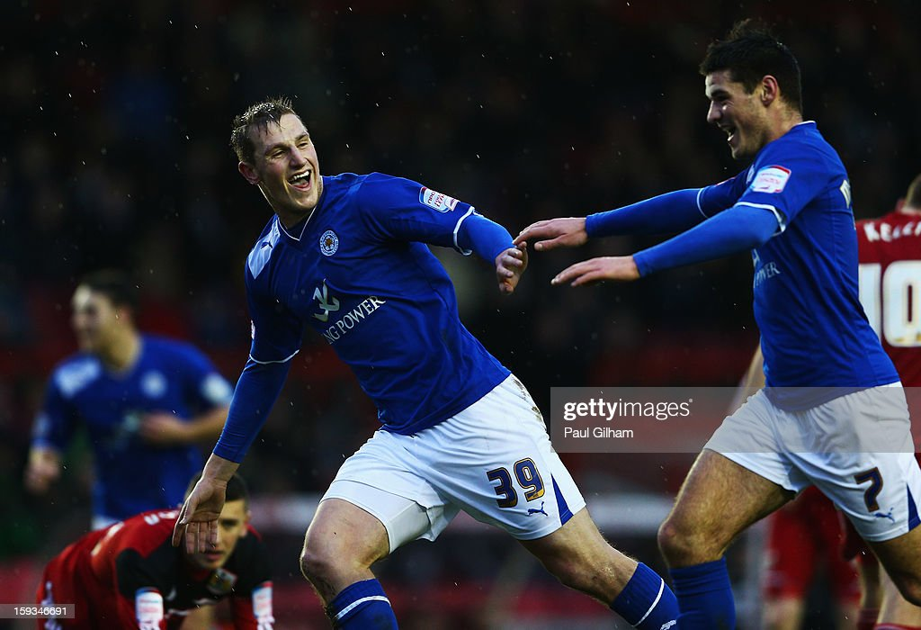 Chris Wood (L) of Leicester City celebrates with team-mate Ben Marshall (R) after scoring the third goal for Leicer City during the npower Championship match between Bristol City and Leicester City at Ashton Gate on January 12, 2013 in Bristol, England.