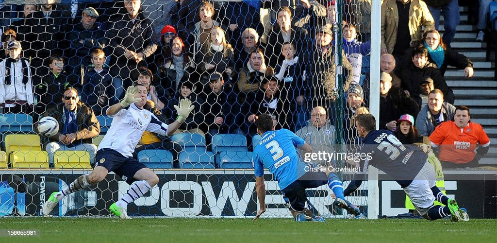 Chris Wood of Millwall scores the only goal of the game during the npower Championship match between Millwall and Leeds United at The New Den on November 18, 2012 in London, England.