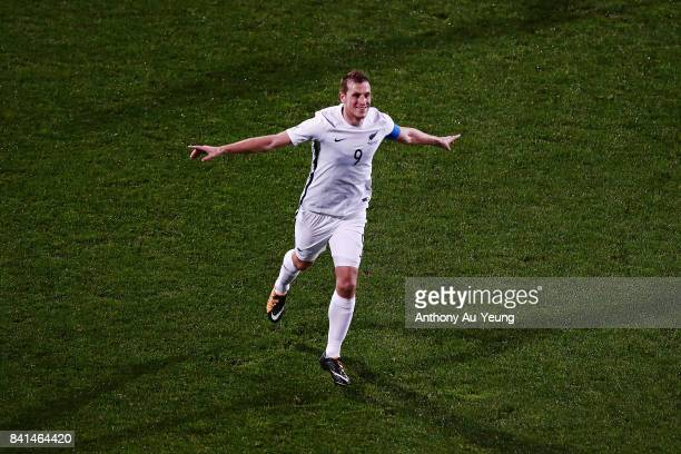 Chris Wood of New Zealand celebrates after scoring his third goal and completes a hat trick during the 2018 FIFA World Cup Qualifier match between...