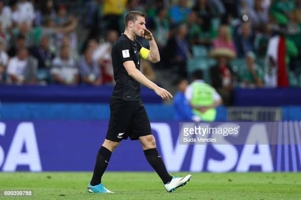 Chris Wood of New Zealand celebrates scoring his sides first goal during the FIFA Confederations Cup Russia 2017 Group A match between Mexico and New...