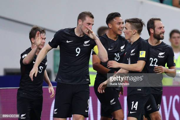 Chris Wood of New Zealand celebrates scoring his sides first goal with his New Zealand team mates during the FIFA Confederations Cup Russia 2017...