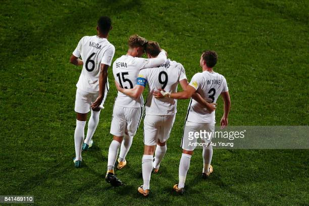 Chris Wood of New Zealand is congratulated by his teammates after scoring his third goal and completes a hat trick during the 2018 FIFA World Cup...