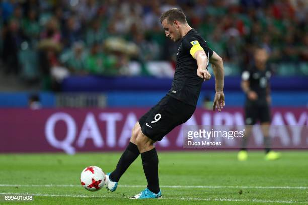 Chris Wood of New Zealand scores his sides first goal during the FIFA Confederations Cup Russia 2017 Group A match between Mexico and New Zealand at...