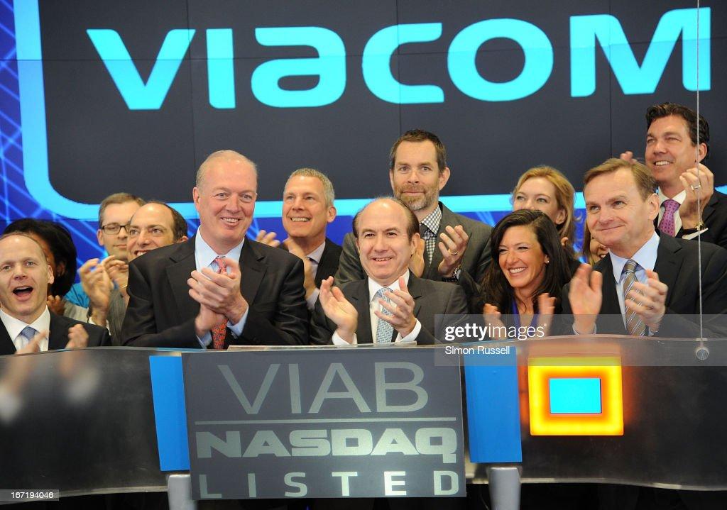 Chris Wood of Sea Bright Rising, Viacom President & CEO Philippe Dauman, Sea Bright Mayor Dina Long and EVP of NASDAQ Bruce Aust ring the NASDAQ Stock Market opening bell in honor of Viacommunity Day at the NASDAQ MarketSite on April 22, 2013 in New York City.