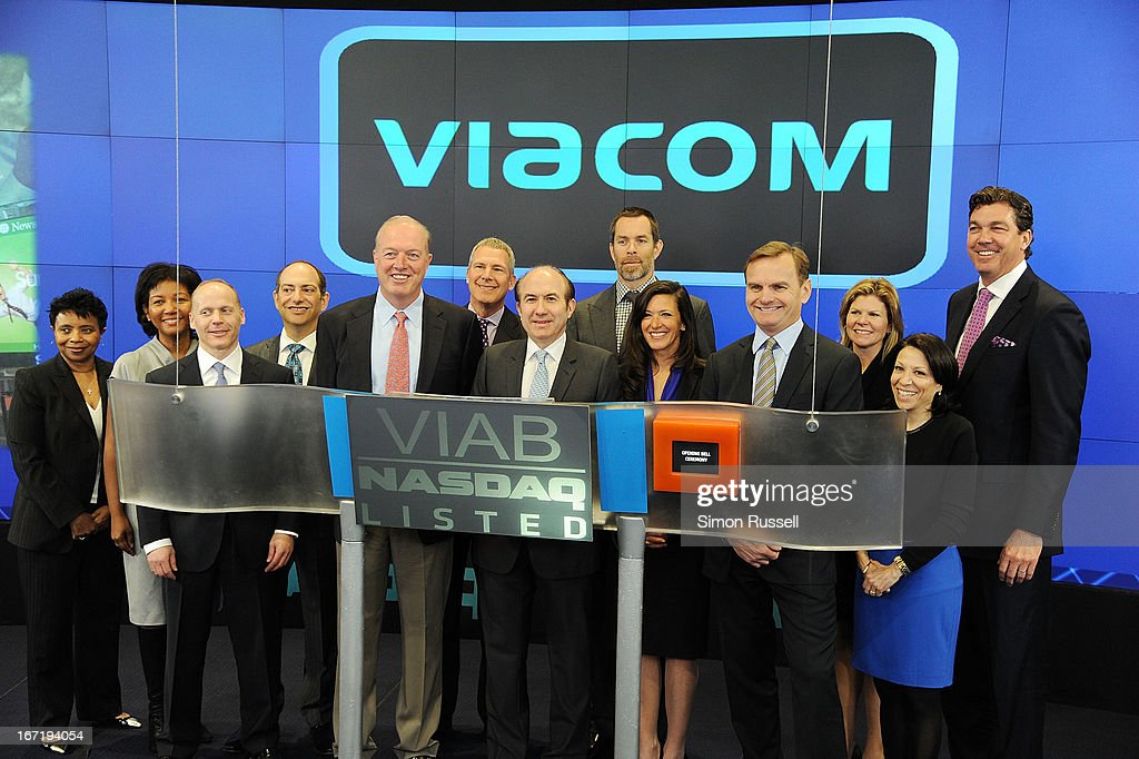 Chris Wood of Sea Bright Rising, Viacom President & CEO Philippe Dauman, Sea Bright Mayor Dina Long and EVP of NASDAQ Bruce Aust ring the NASDAQ Stock Market opening bell in honor of Viacommunity Day at the NASDAQ MarketSite on April 22, 2013 in New York City.