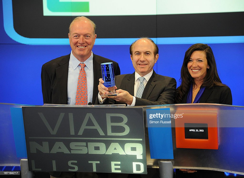 Chris Wood of Sea Bright Rising, Viacom President & CEO Philippe Dauman and Mayor of Sea Bright Dina Long ring the NASDAQ Stock Market opening bell in honor of Viacommunity Day at the NASDAQ MarketSite on April 22, 2013 in New York City.