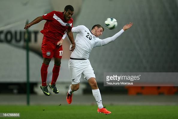 Chris Wood of the New Zealand All Whites looks to pass during the FIFA World Cup Qualifier match between the New Zealand All Whites and New Caledonia...