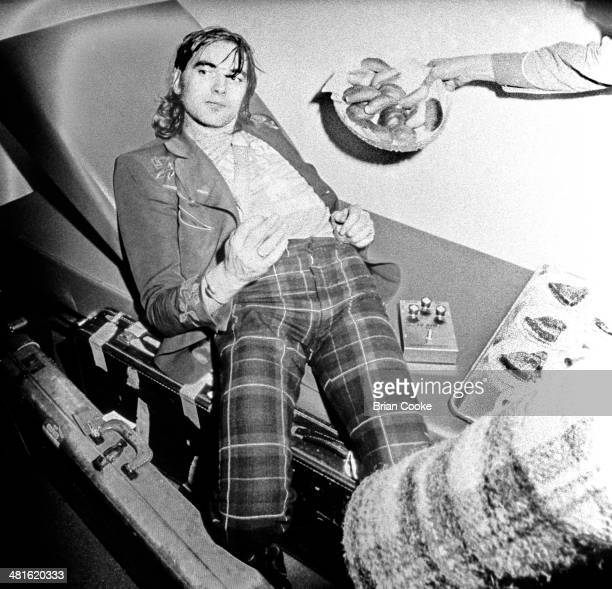 Chris Wood on a coach on tour with Traffic in Europe on 28th March 1973