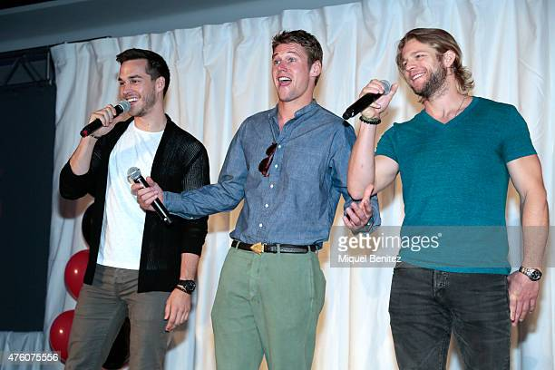 Chris Wood Zach Roerig and Chase Coleman attend fans meeting of 'Bloody Night Con 2015' at the Hotel Barcelo Sants in Barcelona on June 6 2015 in...