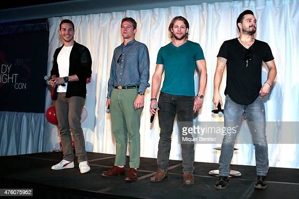 Chris Wood Zach Roerig Chase Coleman and Michael Malarkey attend fans meeting of 'Bloody Night Con 2015' at the Hotel Barcelo Sants in Barcelona on...