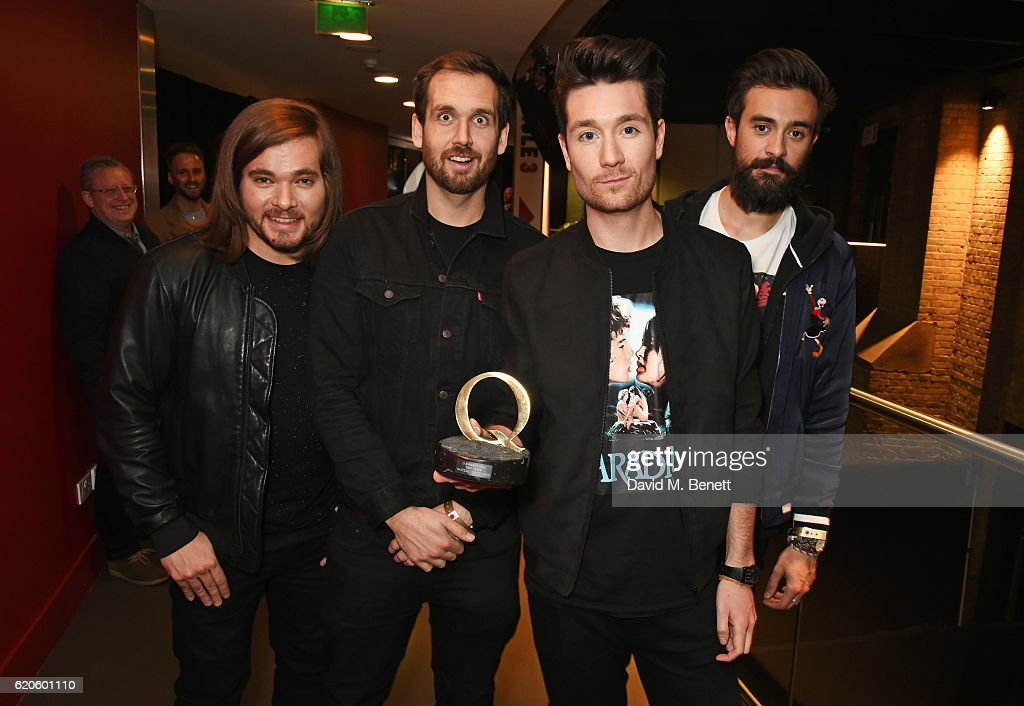 Chris 'Woody' Wood, William Farquarson, Dan Smith and Kyle J Simmons of Bastille, winners of the Q Best Track award for 'Good Grief', pose at The Stubhub Q Awards 2016 at The Roundhouse on November 2, 2016 in London, England.