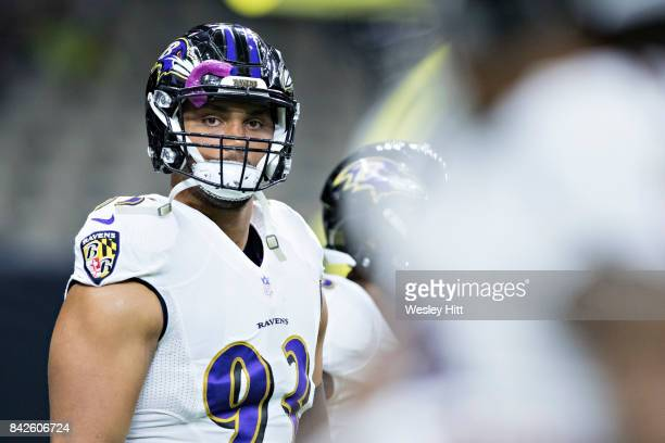 Chris Wormley of the Baltimore Ravens warming up before a preseason game against the New Orleans Saints at MercedesBenz Superdome on August 31 2017...
