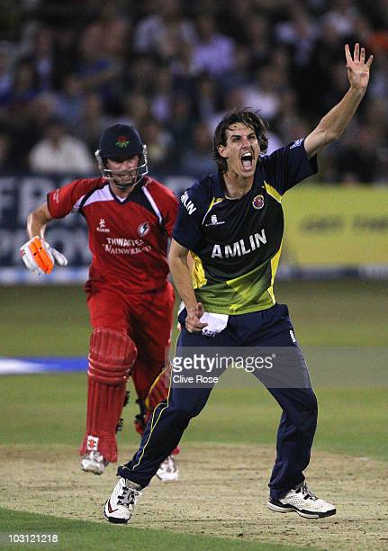 Chris Wright of Essex appeals succesfully for the wicket of Paul Horton of Lancashire during the Friends Provident T20 match between Essex and...