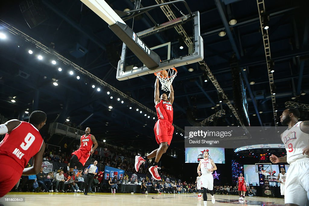 Chris Wright #33 of the Futures team dunks against the Prospects team during the 2013 NBA D-League All-Star Game in Sprint Arena at Jam Session during NBA All Star Weekend on February 16, 2013 at the George R. Brown in Houston, Texas.