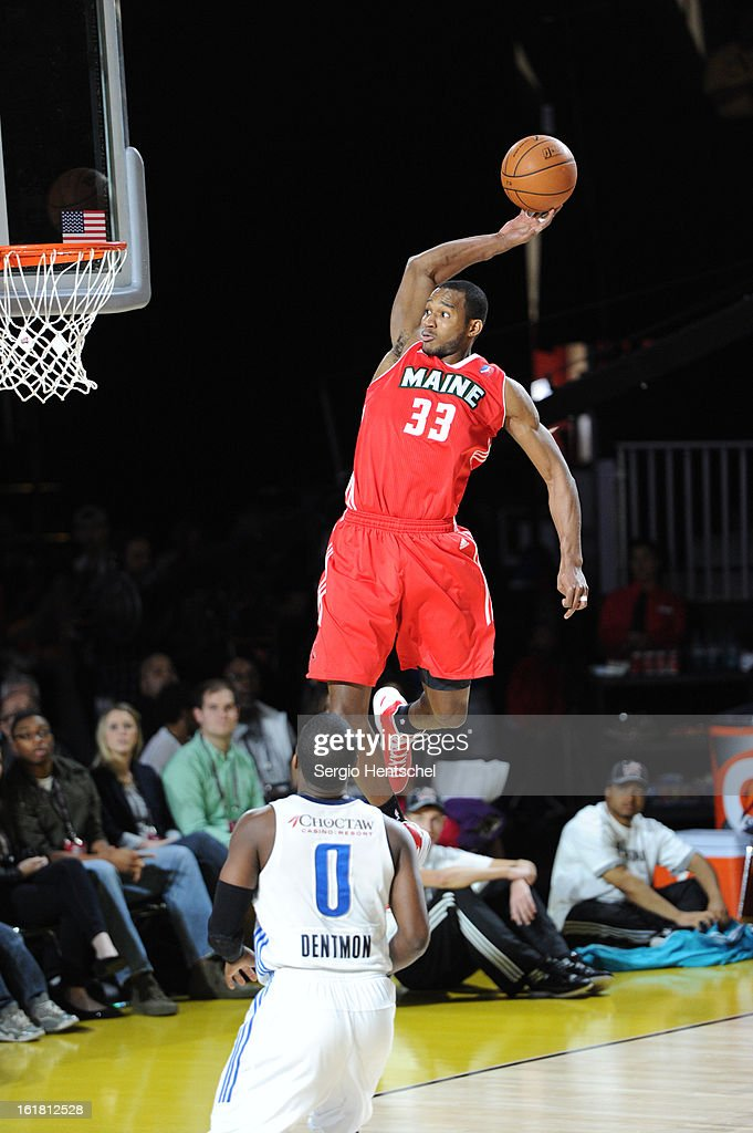 Chris Wright #33 of the Futures team dunks during the 2013 NBA D-League All-Star Game in Sprint Arena at Jam Session during NBA All Star Weekend on February 16, 2013 at the George R. Brown in Houston, Texas.