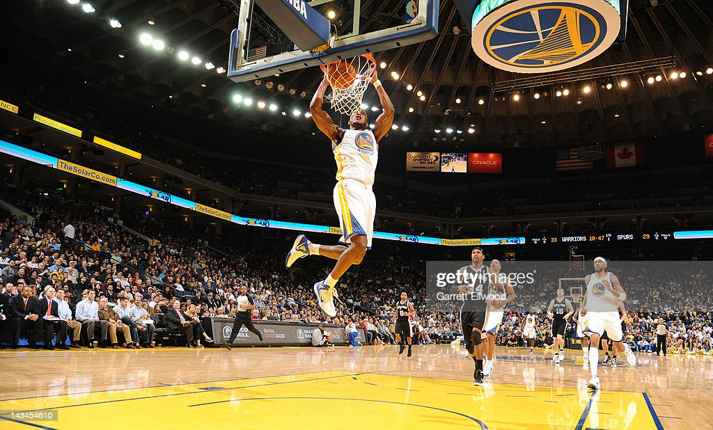 Chris Wright #33 of the Golden State Warriors dunks against the San Antonio Spurs on April 26, 2012 at Oracle Arena in Oakland, California.