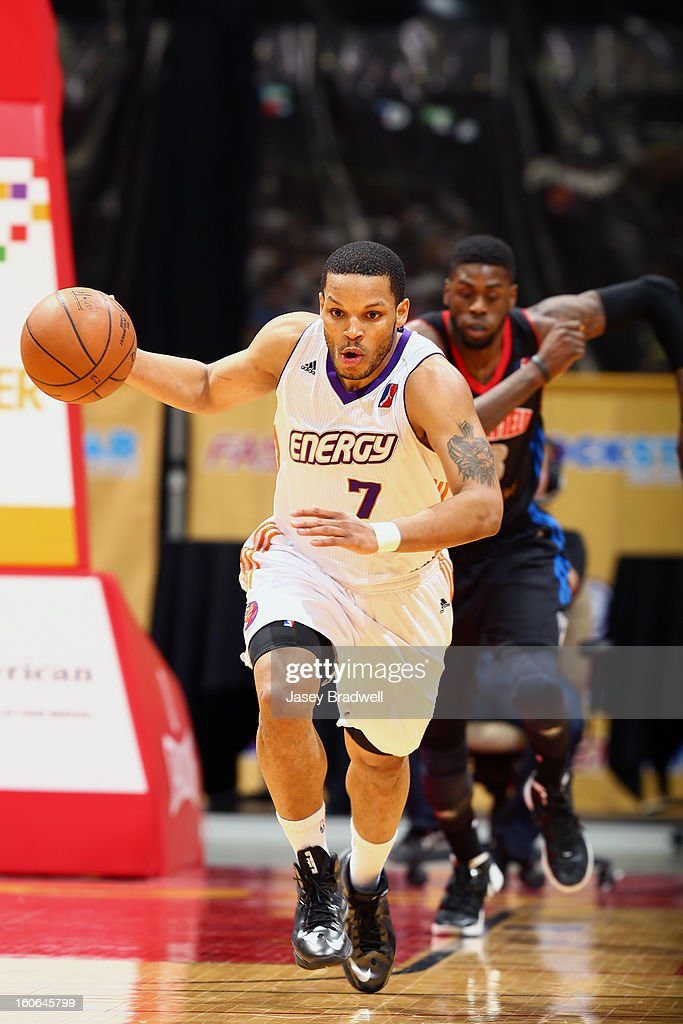 Chris Wright #7 of the Iowa Energy runs the ball up the court against the Springfield Armor in an NBA D-League game on February 2, 2013 at the Wells Fargo Arena in Des Moines, Iowa.