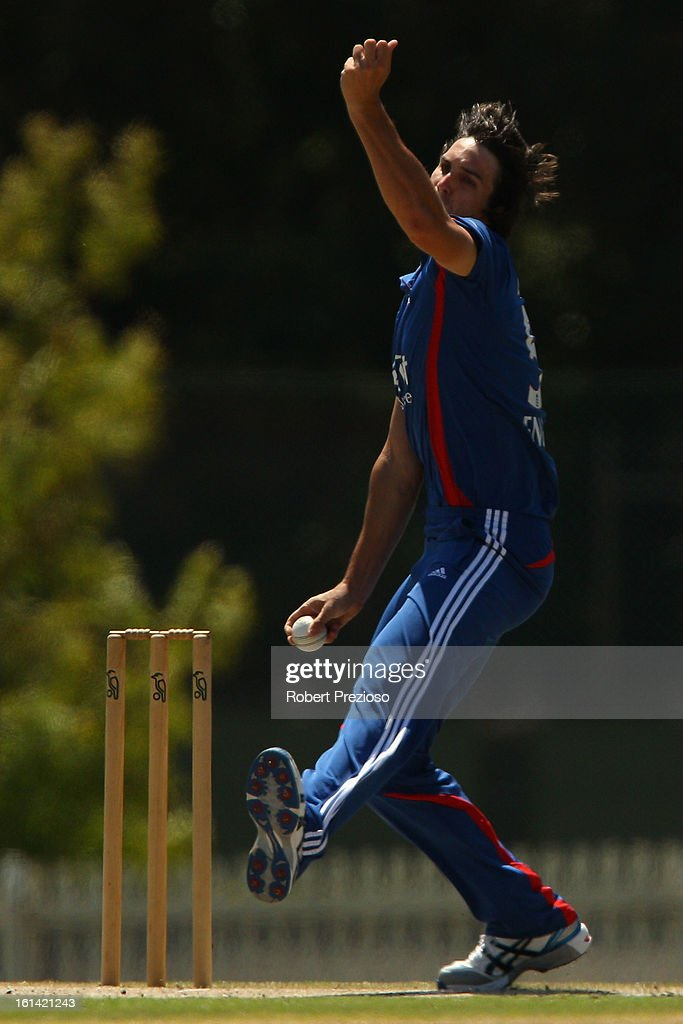 <a gi-track='captionPersonalityLinkClicked' href=/galleries/search?phrase=Chris+Wright+-+Cricket+Player&family=editorial&specificpeople=14555411 ng-click='$event.stopPropagation()'>Chris Wright</a> of the Lions bowls during the International Tour match between the Victoria Bushrangers and England Lions at Junction Oval on February 11, 2013 in Melbourne, Australia.