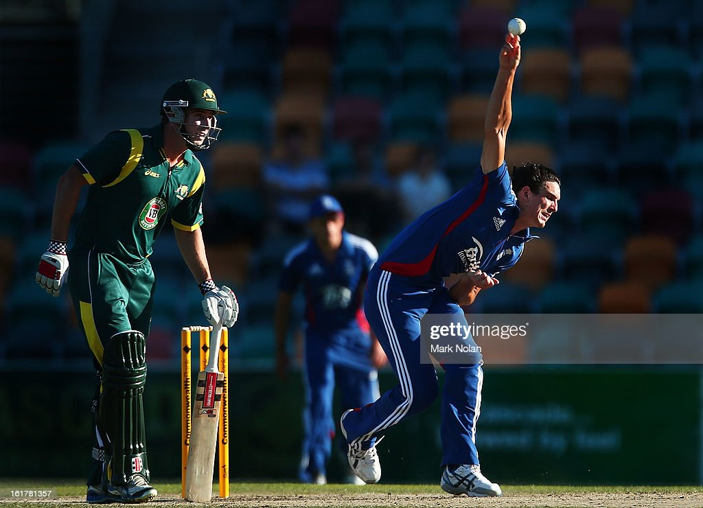 <a gi-track='captionPersonalityLinkClicked' href=/galleries/search?phrase=Chris+Wright+-+Cricket+Player&family=editorial&specificpeople=14555411 ng-click='$event.stopPropagation()'>Chris Wright</a> of the Lions bowls during the international tour match between Australia 'A' and the England Lions at Blundstone Arena on February 16, 2013 in Hobart, Australia.