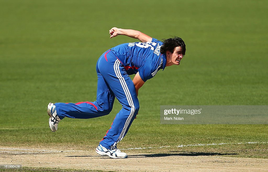 Chris Wright of the Lions bowls during the international tour match between Australia 'A' and England at Blundstone Arena on February 18, 2013 in Hobart, Australia.