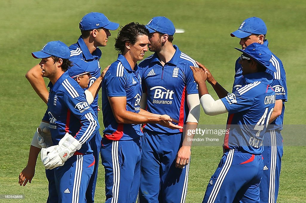 Chris Wright of the Lions celebrates with team mates after claiming the wicket of Joe Burns of Australia 'A' during the International Tour match between Australia 'A' and the England Lions at Sydney Cricket Ground on February 25, 2013 in Sydney, Australia.