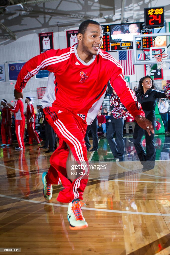 Chris Wright #33 of the Maine Red Claws enters the court during player introductions before the NBA D-League playoff game against the Rio Grande Valley Vipers on Thursday, April 11, 2013 at the Portland Expo in Portland, Maine.