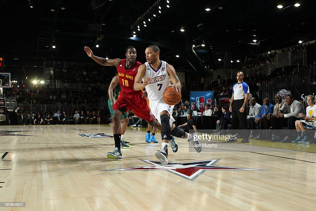Chris Wright of the Prospects team drives the ball against Tony Mitchell of the Futures team during before the 2013 NBA D-League All-Star Game in Sprint Arena at Jam Session during the NBA All-Star Weekend on February 16, 2013 at the George R. Brown Convention Center in Houston, Texas.