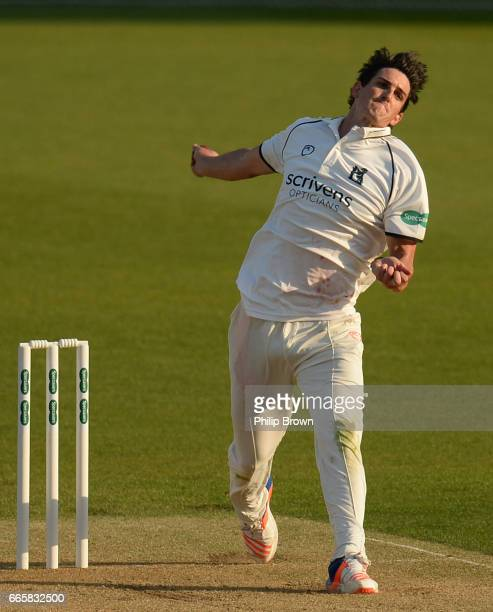 Chris Wright of Warwickshire bowls during day one of the Specsavers County Championship Division One cricket match between Surrey and Warwickshire at...