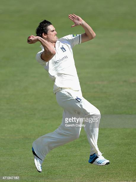 Chris Wright of Warwickshire bowls during day two of the LV County Championship Division One match between Yorkshire and Warwickshire at Headingley...
