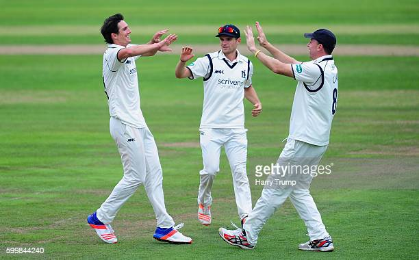 Chris Wright of Warwickshire celebrates after dismissing James Hildreth of Somerset during Day Two of the Specsavers County Championship Division One...