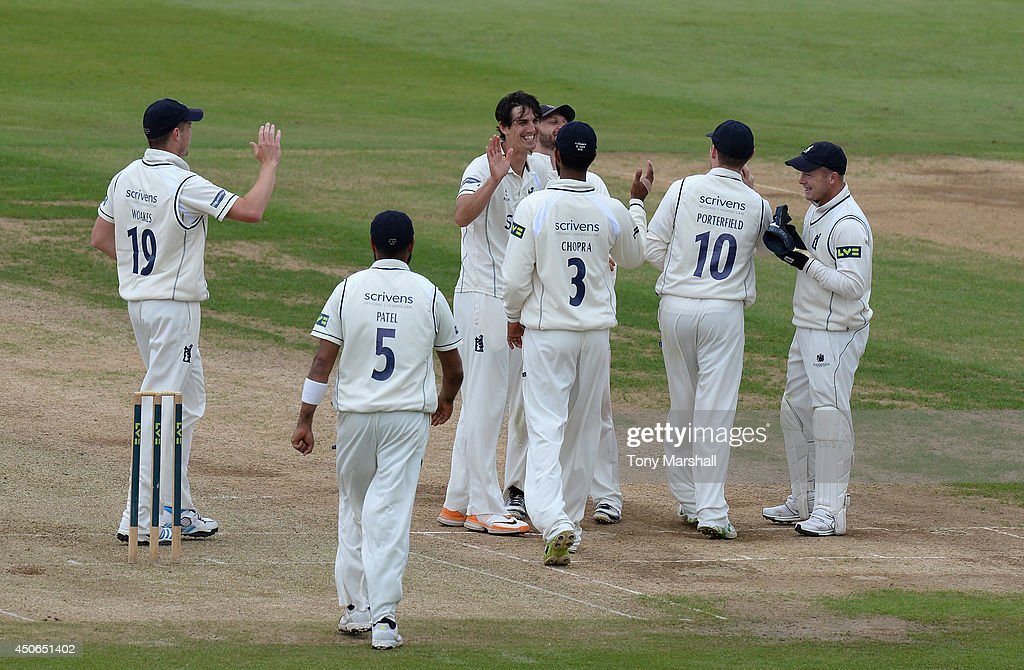 Chris Wright of Warwickshire celebrates taking the wicket of Matthew Spriegel of Northamptonshire during the LV County Championship match between...