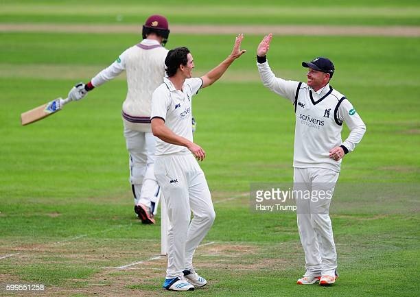 Chris Wright of Warwickshire celebrates the wicket of Tom Abell of Somerset during Day One of the Specsavers County Championship Division One match...