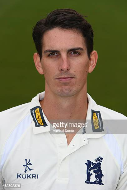 Chris Wright of Warwickshire poses in the LV County kit during the Warwickshire CCC photocall at Edgbaston on April 3 2014 in Birmingham England