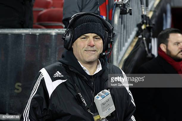 Chris Wyche a longtime soccer operations executive works the game as the broadcast red hat Toronto FC hosted Seattle Sounders FC in MLS Cup 2016 on...
