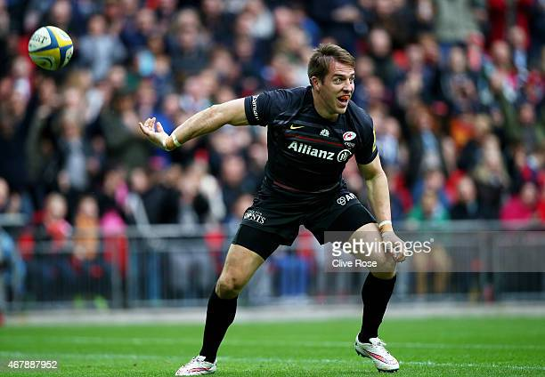 Chris Wyles of Saracens celebrates after scoring his team's first try during the Aviva Premiership match between Saracens and Harlequins at Wembley...