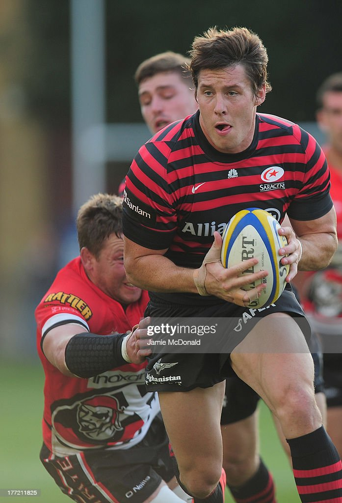 Chris Wyles of Saracens in action during the pre season friendly match between Saracens and Cornish Pirates at Honourable Artillery Company on August 22, 2013 in London, England.