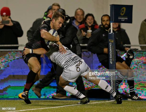 Chris Wyles of Saracens scores their first try during the European Rugby Champions Cup match between Saracens and Ospreys at Allianz Park on October...