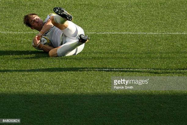 Chris Wyles of the Saracens scores a try against the Newcastle Falcons during a Aviva Premiership match between the Newcastle Falcons and the...