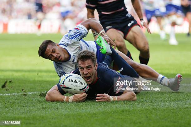 Chris Wyles of the United States celebrates scoring his teams opening try during the 2015 Rugby World Cup Pool B match between Samoa and USA at...