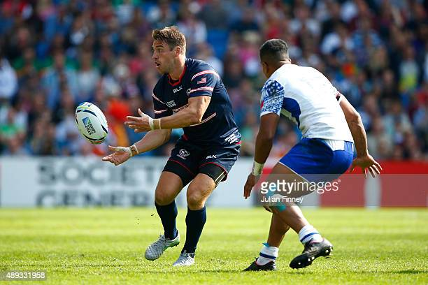 Chris Wyles of the United States passes during the 2015 Rugby World Cup Pool B match between Samoa and USA at Brighton Community Stadium on September...
