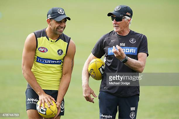 Chris Yarran reacs to coach Michael Malthouse during a Carlton Blues AFL training session at Visy Park on March 15 2014 in Melbourne Australia